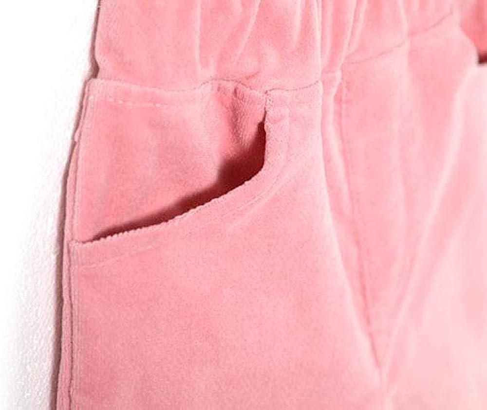 Rainbow Little Girls Toddler Warm Pink Velvet Flared Pants with Pompoms