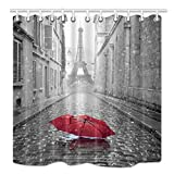 Eiffel Tower Shower Curtain NYMB Paris Shower Curtain, Eiffel Tower Under Red Umbrella in France Street, Mildew Resistant Fabric Bathroom Decorations, Bath Curtains Hooks Included, 69X70 Inches