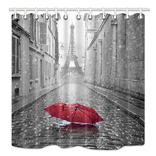 NYMB Paris Shower Curtain, Eiffel Tower Under Red Umbrella in France Street,Fabric Bathroom Decorations, Bath Curtains 12PCS Hooks Included, 69X70 Inches]()