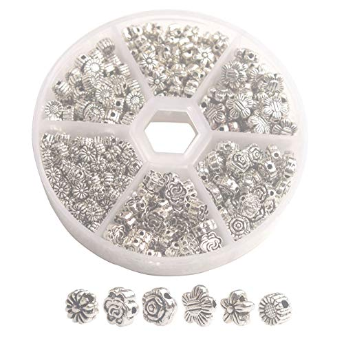 ChangJin ONE Box of 380PCS Antiqued Silver Metal Flower Spacer Beads for Jewelry Making