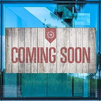 Nautical Wood Perforated Window Decal Coming Soon 96x48 CGSignLab