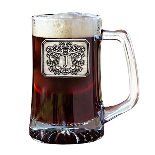 Fine Occasion Glass Beer Pub Mug Monogram Initial Pewter Engraved Crest with Letter J, 25 oz