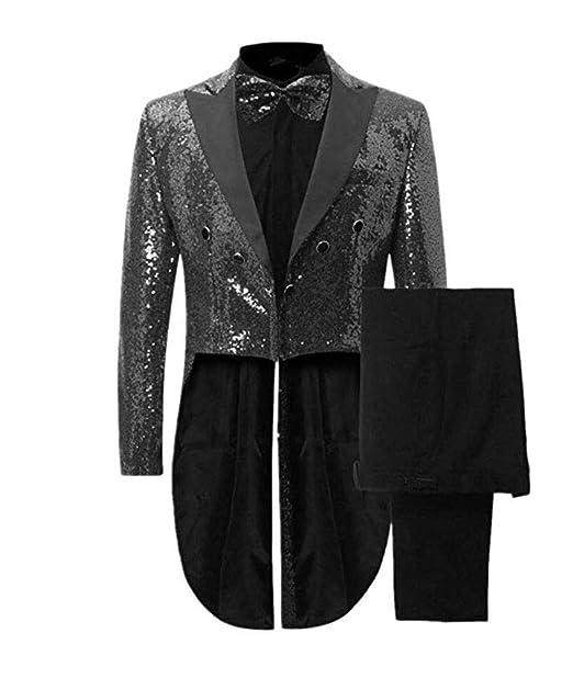 97d7340793f Botong Men's Notch Lapel Black Sequins Tailcoat 2 Pieces Nightclub Suit  Wedding Prom Tuxedos Black 34