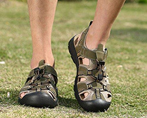 SK Studio Men's Leather Sandals Athletic Sport Close-Toe Beach Sandal Summer Army Green 1KgoWmBnI