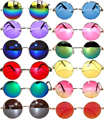 12 Round Retro Vintage Circle Sunglasses Metal Colored Frame Colored Lens OWL -