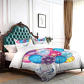 Image of Home and Kitchen dsdsgog All-Season Bedspread with Floral Printed Birthday,Balloon Confetti Stars 90x104 inch Wrinkle Fade and Stain Resistant