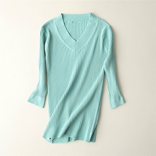Sweaters Slim Knitting sleeve Women's V QXH Long Green Collar 6H5wRqpxB