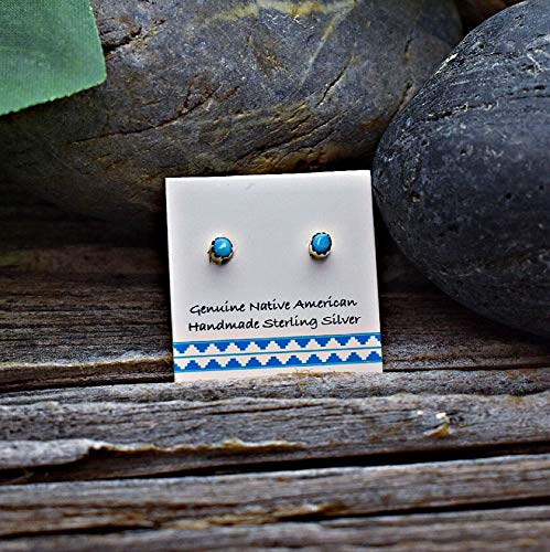 2mm Genuine Sleeping Beauty Turquoise Stud Earrings in 925 Sterling Silver, Authentic Navajo Native American, Handmade in the USA, Nickle Free (Turquoise Native Earrings)