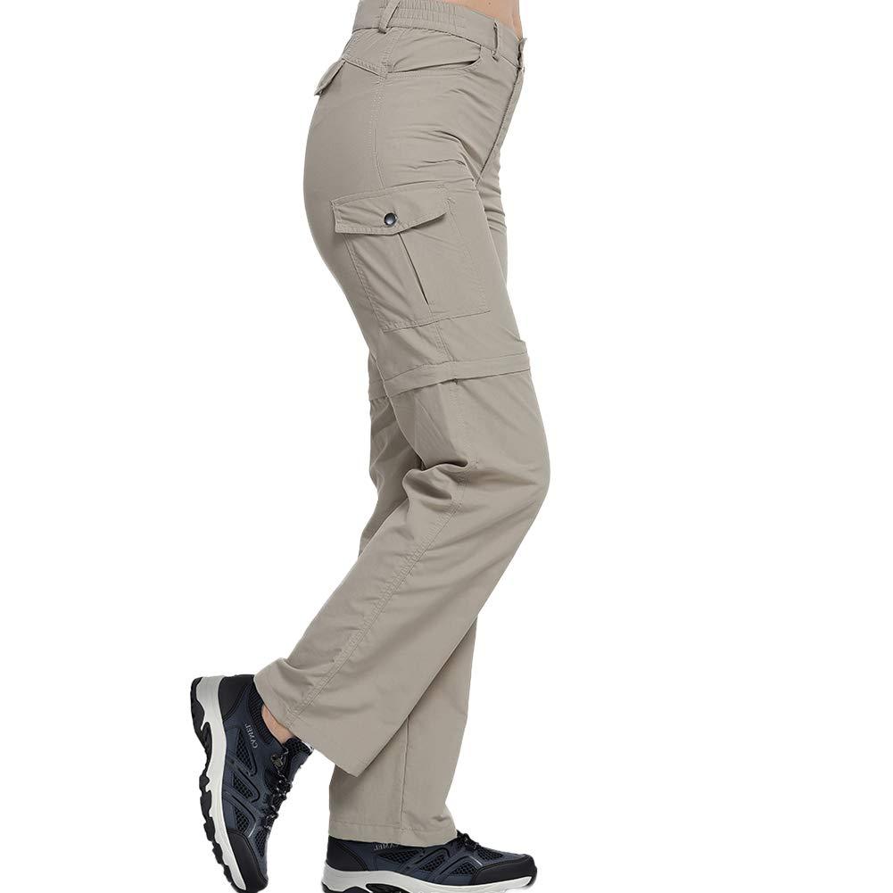 Comcrib Damen 2 in 1 Zip Off Hosen Wanderhosen wasserdichte Hosen Outdoor Walking Hosen Schnell Trocknende Kausal Hosen Abnehmbares Bein Cabrio Hosen