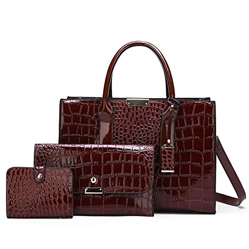 Cawmixy Top Handle Bag Satchel Crocodile pattern Women Shoulder Bags Classic Tote Lady Designer Purses Woman Bags (D Brown)