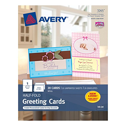 Avery Half-Fold Greeting Cards for Inkjet Printers, 5.5 inches x 8.5 inches, White, Matte, Pack of 20