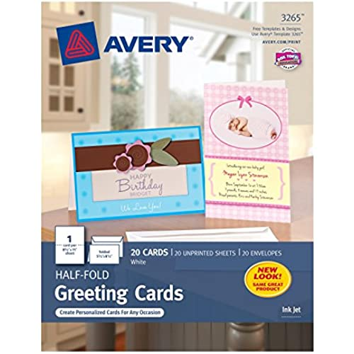 Avery Half-Fold Greeting Cards for Inkjet Printers, 5.5 inches x 8.5 inches, White, Matte, Pack of 20 (03265) Sales