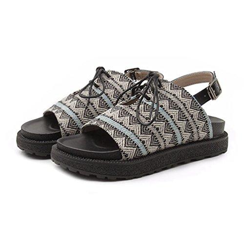 para de Negro Zapatillas Sandalias de Sandalias Mujer Plataforma Liso Clásicas Abierta Bohemias Tacón Wedge Suela q6qz7T0