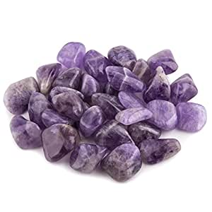 "Crystal Allies Materials: 1lb Bulk Tumbled Amethyst Quartz Stones from Madagascar - Large 1"" - Raw Natural Stones for Cabbing, Cutting, Lapidary, Tumbling and Polishing & Reiki Crystal Healing"