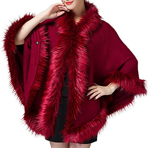 Caracilia Women Faux Fur Trim Wool Blend Hooded Cape Poncho Cloak Coat Wine C88