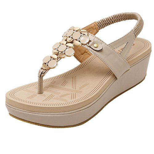 ZAMME Women's High Heel Sandals Beads Open Toe Wedges Apricot a IUoIx