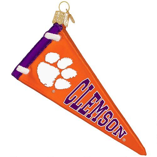 Old World Christmas Clemson University Pennant Glass Blown Christmas - Blown Glass Mouth Collection
