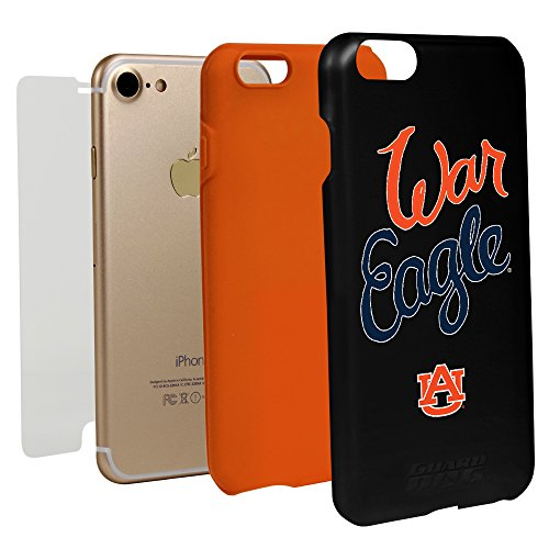 Auburn Tigers Cell Phone Case (Auburn Tigers War Eagle Hybrid Case for iPhone 7/8 with Guard Glass Screen Protector)