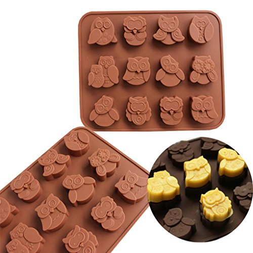 Zomup 12 Owls Silicone Bakeware Pan Bread Chocolate Candy Muffin Cake Mold Jelly Candy Decor Craft Baking Mould Tray (Coffee)