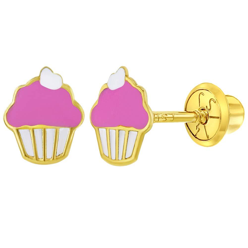 14k Yellow Gold Pink Enamel Little Cupcake Screw Back Earrings for Toddlers or Girls by In Season Jewelry