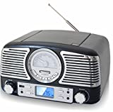 TechPlay QT62BT, Retro design compact stereo CD, with AM/FM rotary knob, Wireless Bluetooth reception, SD and USB ports. With AUX in and headphone jack (TURQOUISE)