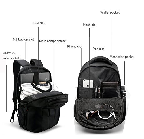kopack Laptop Backpack Slim Computer Travel Bag Anti Theft Water Resistant 15.6 Inch Black KP492 by kopack (Image #2)