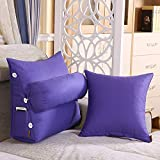 Lumbar Pillow Cailin, Adjustable Pillow, Triangular Three-Dimensional Cushion + Pillow, Canvas Cotton, 3 Sets, Beige (Color : Light Purple, Size : 452250cm+4545cm)