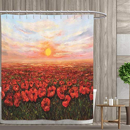 Opium Satin - Flower Shower Curtains Digital Printing Wild Opium Poppy with Petals Field in Front of Sunset Artistic Picture Satin Fabric Bathroom Washable 36