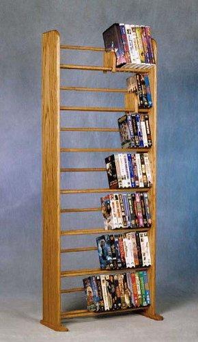 (7 Row Dowel Media Rack (Honey Oak))