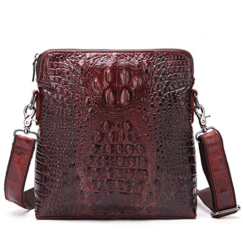 (Mayshe Men's Genuine Leather Alligator Crocodile Pattern Shoulder Messenger Bag for iPad Coffee)
