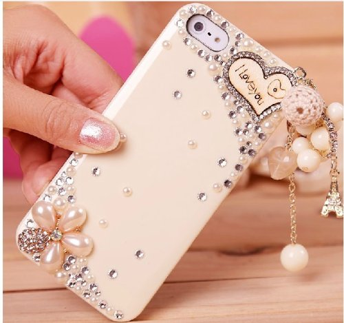 Poposh - 1 Cover protettiva rigida per iPhone 5C della serie Il mare dei fiori con pendente della Torre Eiffel e scritta I Love You, in plastica con strass, perline, cuore in legno e catenella, supe