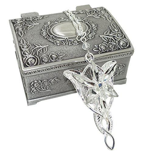Ruimeng Lord of the Rings Arwen's Evenstar Earrings with Cherry Blossom Heart Jewelry Box,Lord of the Rings Earrings,Great Gift for The Lord of the Rings Fans Christmas ()