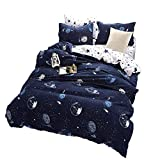 BeddingWish Cartoon Blue Beddding Set for Kids Teenager, Duvet Cover with Universe Planets (No Comforter) Printed Pattern Twin Size (3pcs,)