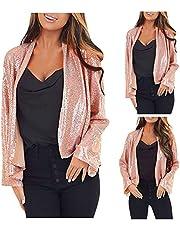 Women's Sequin Jacket Open Front Blazer Casual Round Neck Long Sleeve Party Cardigan Coat