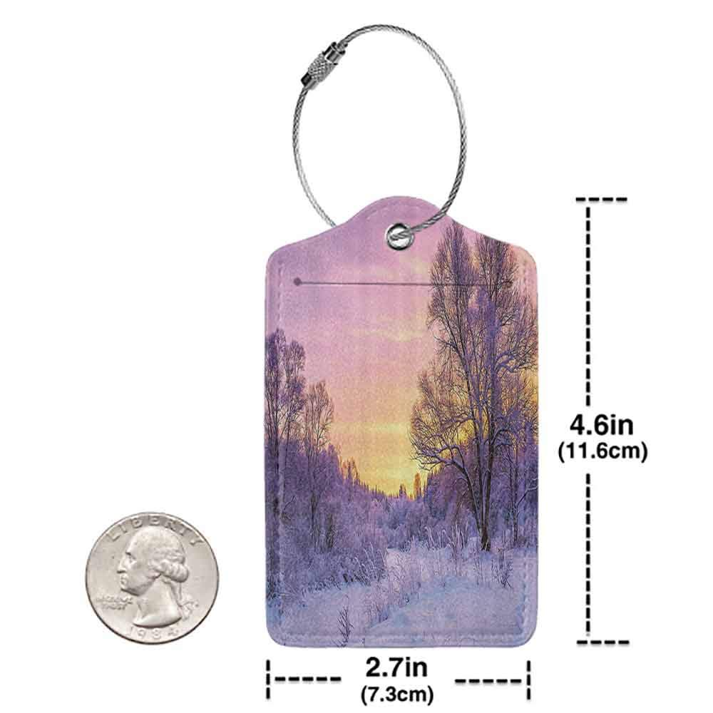 Durable luggage tag Farm House Decor Winter Landscape With Sunset And Frozen Trees Ice Weather Blizzard Cold Days Image Unisex Pink White W2.7 x L4.6