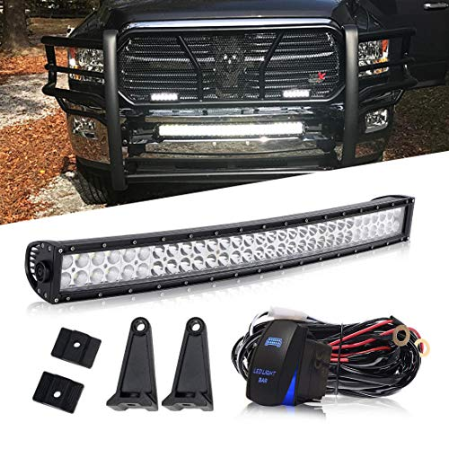 QUAKEWORLD 32/30 Inch Curved Led Light Bar Offroad Spot Flood Combo Beam W/Rocker Switch Wiring Harness On Bumper Grill Windshield Roof For Truck Jeep Polaris Ranger RZR Truck Tacoma Boat ()