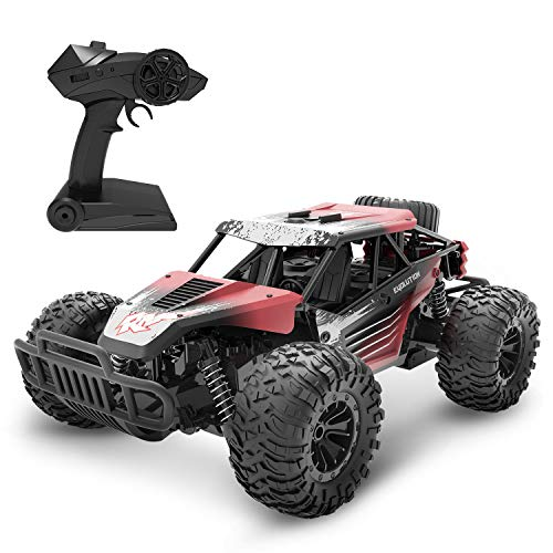 DEERC DE37 Remote Control Car 1/16 Scale RC Cars, 20 KM/H High Speed RC Truck for Kids Adults, All Terrains Off Road Monster Truck, 30 Min Running Time Cars Toy for Boys & Girls, Color Red