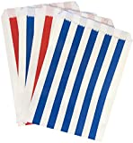 white and blue popcorn bags - Patriotic Treat Bags - Red White and Blue Striped Favor Sacks - 5.5 x 7. 5 Inches - 48 Pack