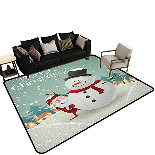 100' Almond - Bedroom Carpet Christmas,Merry Christmas Cartoon with Santa Snowman Pines Houses Winter, Almond Green Eggshell Red