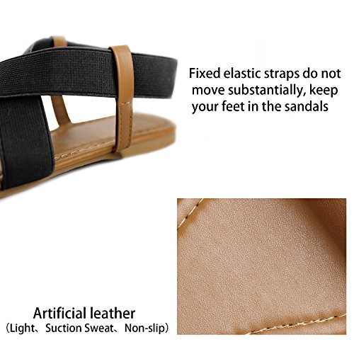 Fasehold Summer Sandals Criss Black Elastic cross Strap Women Fashion Toe Open Shoes Flat Wide rcPEOrTAFW
