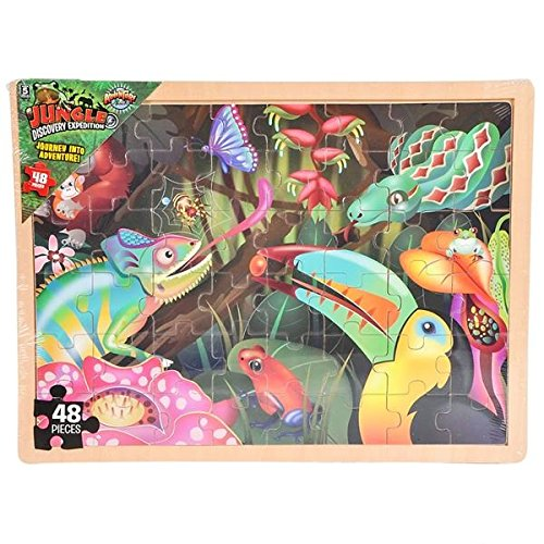 Hands On Learnign Jigsaw Puzzle Jungle Animals Wood Puzzle - Wonders of the Wild - Wooden Floor Puzzle 48 Pieces Childrens Puzzle by Hands On Learning