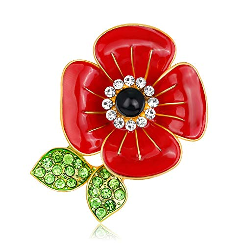 ALoveSoul Memorial Day Poppy Brooch CZ Rhinestone Pins Red Enamel Poppy Flower Brooch Remembrance Day Gifts