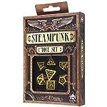 Q-Workshop Polyhedral 7-Die Set: Carved Steampunk Dice Set (Yellow and Black) 5