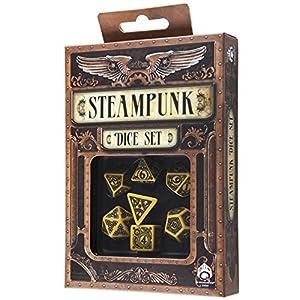 Q-Workshop Polyhedral 7-Die Set: Carved Steampunk Dice Set (Yellow and Black)