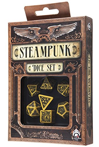 Q-Workshop Polyhedral 7-Die Set: Carved Steampunk Dice Set (Yellow and Black) 3