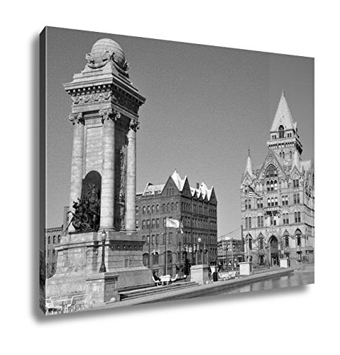 Ashley Canvas Soldiers And Sailors Monument And Syracuse Saving Bank Building At Clinton, Kitchen Bedroom Living Room Art, Black/White 24x30, AG6086038 (York America Bank Of New Syracuse)