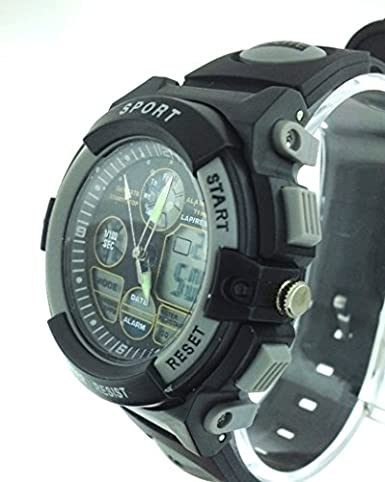 Amazon.com: Sports Watch Multi function Gray/Black Dial Black Silicone Rubber Band reloj de pulsera: sports: Watches