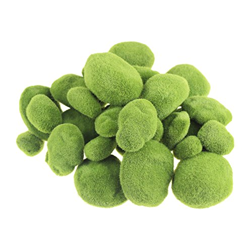 LJY 36 Pieces Assorted Sized Artificial Moss Rocks Decorative Faux Stones for Floral Arrangements, Fairy Gardens, Terrariums and Crafting