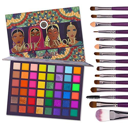 UCANBE EXOTIC FLAVORS Eyeshadow Palette + 15 PCS Eye Brushes Makeup Set 48 Colors Neon Shimmer Matte Glitter Eye Shadow…