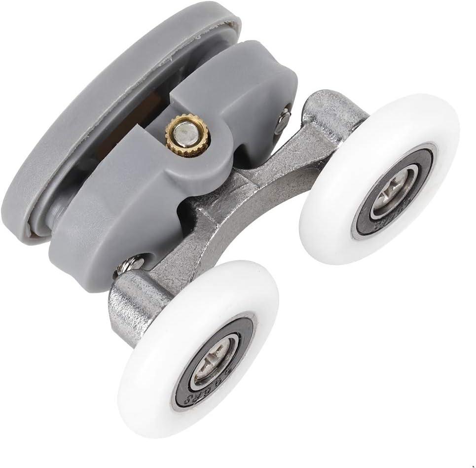 Cafopgrill Shower Door Rollers 4pcs Sliding Wheel Double Wheel Durable Track Door Bathroom Glass Door Bottom Wheels Bathroom Spare Parts Top Wheel